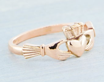 10K Rose Gold Claddagh Ring, 10K Rose Gold Ring, Irish Ring, Claddagh Jewelry, Rose Gold Promise Ring, Engagement Ring, Gift For Her