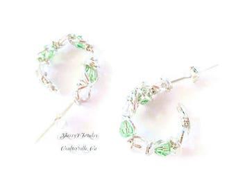 Sterling silver hoops, Crystal hoops, handmade hoop earrings, swarovski crystal hoop earrings, Peridot earrings