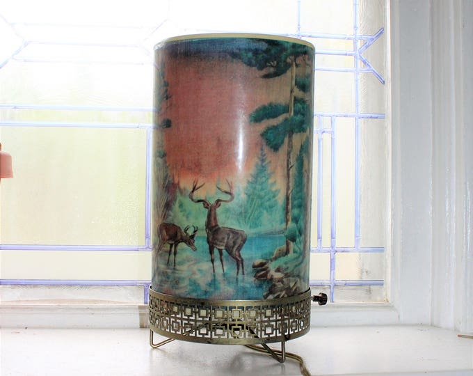 1950s Motion Lamp Forest Fire and Deer Scene by Goodman