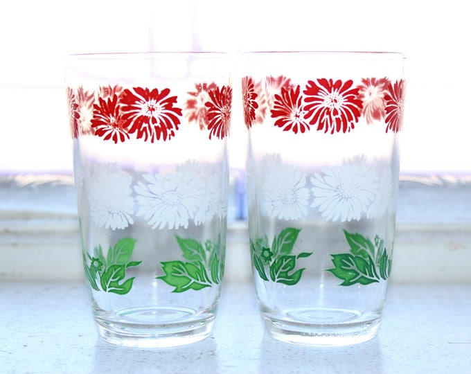 2 Swanky Swig Tumblers Bachelor Button Red White Green Vintage 1960s