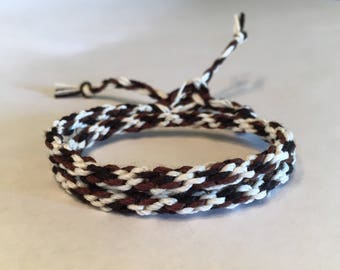 Black, Brown and Cream Cylinder Double Wrap Bamboo Bracelet