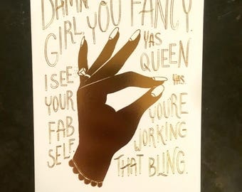 Damn Girl Engagement - A2 Greeting Card with Envelope, gold foil, ring, celebrating, marriage, wedding