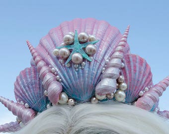 Pink and aqua mermaid shell crown - one of a kind