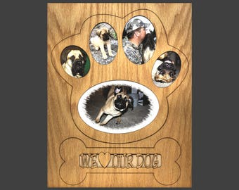 11x14 dog picture frame collage mat insert for frame dog paw dog photo frame - Dog Picture Frame