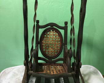 Salesman Sample Swing with Rattan Seat  antique doll swing swingset outdoor fun porch swing patio Victorian primitive rustic vintage country