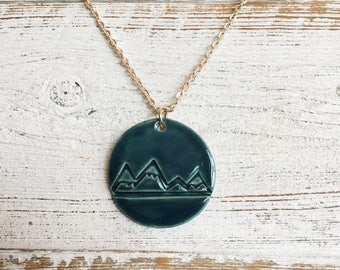 Ceramic Mountain Pendant, Dark Teal, Mountains, Outdoors, Ceramics, Gift for Her, Gift Ideas, Unique Jewelry, Ceramic Jewelry