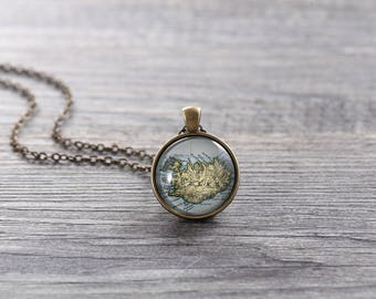 Iceland Map Necklace - Iceland, Customizable Map Necklace -Vintage Map Series (M005)