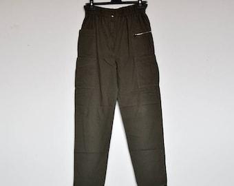 Vintage Army Green Elastic High Waist Cotton Summer Cargo Pants