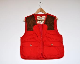 NOS Vintage Red Duck Hunting Jacket Field Sportswear Outdoor Vest Fishing Waistcoat