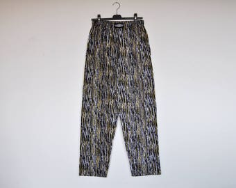 Vintage Mens Abstract Print Loose Fit Elastic Waist Sportwear Cotton Track Pants