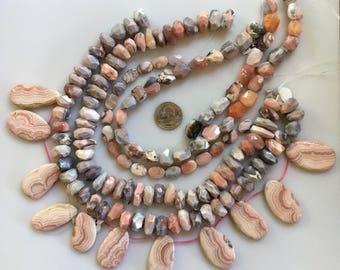 Bead Destash, Mixed Lot, Srands, Pink Peruvian Opals, Pink Rhodochrosite