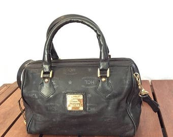 15% OFF5DAYSALE Vintage Authentic HCL Black Leather Shoulder Satchel Bag