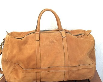 15%OFF VACATION SALE Large Great Vintage Genuine The Territory Ahead tan leather duffle travel bag