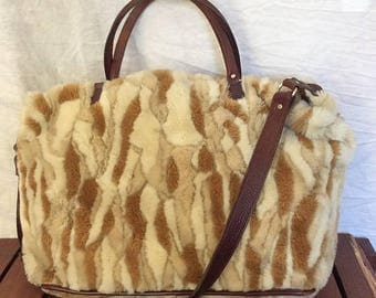 15%OFF VACATION SALE Vintage Authentic Raviani Faux Fur with Brown Leather Trim Duffle Bag Carry On Travel Bag
