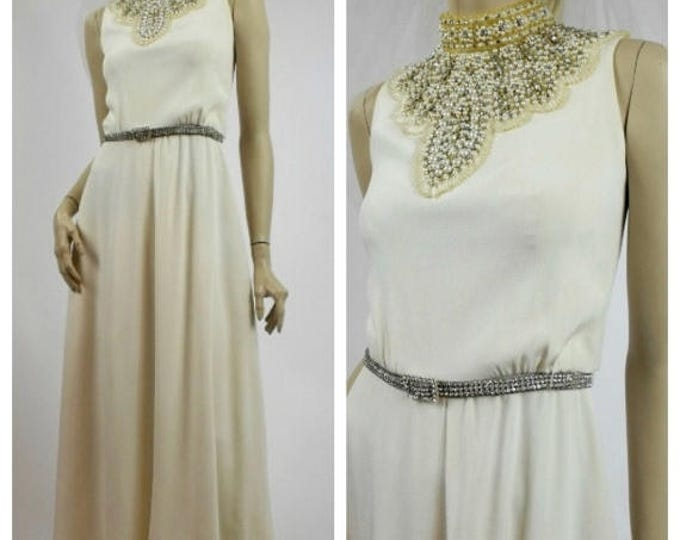 SUMMER SALE Couture 1960's Wedding Dress with Beaded Pearl & Rhinestone Collar - Winter White Column Dress - Vintage Wedding Gown - Beaded E