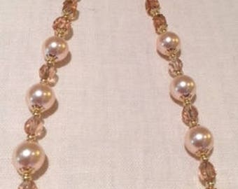 """16-17"""" Peach-toned Swarovski Pearls with Gold Filled Beads & Clasp"""