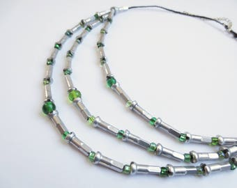 Recycled Bicycle Spoke Nipple and Variegated Green Glass Bead Necklace