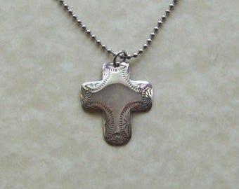 Vintage cross pendant necklace, vintage cross, sterling silver cross, lightweight southwestern style cross, steel or silver chain.