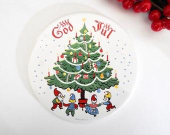 God Jul Berggren Round Decorative Tile- Holiday Decor
