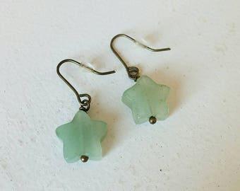 Pretty natural stone star earrings