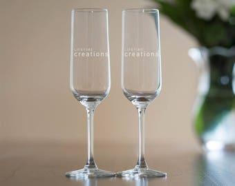 50 Custom Engraved Toasting Flutes with Logo: Promotional Champagne Flutes, Custom Champagne Flutes Giveaway, Etched Toasting Flutes Logo