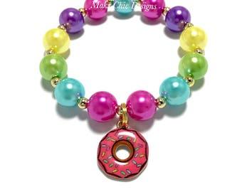 Toddler or Girls Small Beaded Donut Charm Bracelet - Pink, blue, Green, Yellow, Purple Bracelet - Sprinkle Donut Bracelet - Donut Birthday