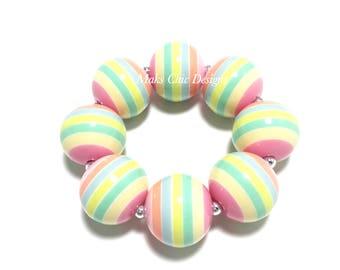Toddler or Girls Pastel Chunky bracelet - Easter Egg Striped Chunky Bracelet - Pink, Yellow, Blue and Green Bracelet - Spring Bracelet