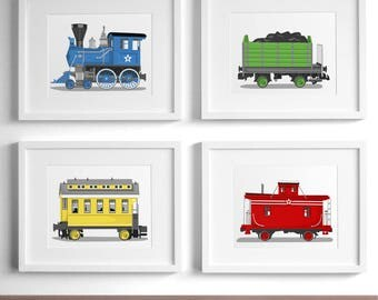 Train nursery art - railroad art prints - set of 4 unframed childrens art prints - rail way steam engine nursery art for boys
