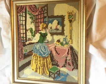Large Vintage Cross Stitch Dutch Girl at the Window Framed Piece