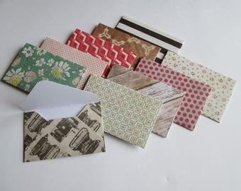 Mini Envelopes >> set of 10, Snail Mail, Penpals, Stationery, Envelopes, embellishments, gift card holder