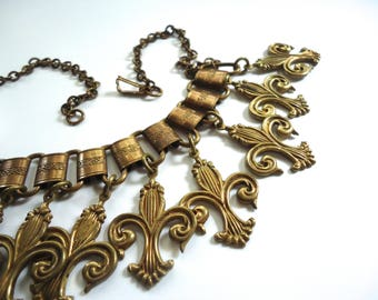 Unusual Fleur de Lis Necklace, Vintage Fleur de Lys, Multi Charm Jewelry, France, New Orleans, NOLA, Unique Statement Piece, 1930s Art Deco