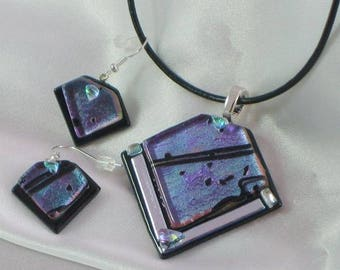 ORBIT a fused glass jewelry pendant set with necklace and earrings