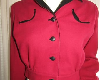 Vintage Ladies Red/Black Wool WAIST JACKET by I. Magnin & Co.