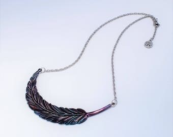 Necklace,feather,handpainted,unique,original jewelry,made in Québec,stainless steel,boho