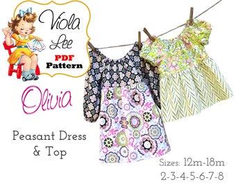 Girl's Dresses Pattern pdf. Toddler Clothing Pattern. Sewing Pattern pdf, Girl's Peasant Dress Pattern. Toddler Peasant Dress. Olivia