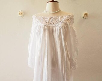 Mid Year SALE White Tunic Top Cotton Summer Blouse -Free size (US0-US8)