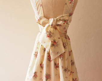 FLORAL DRESS Fairy Wing Low Back Tea Party Dress Back Bow White Sundress Floral Dress Vintage Inspired Dress Alice in Wonderland- Size M