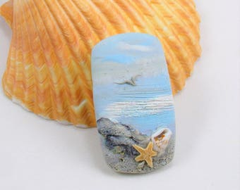 StudioStJames-Handmade Polymer Clay 25x40mm Focal Cabochon Pendant-Shoreline,Seagull, Shell, Starfish-Nautical Beach-Aqua Blue-PA 100797