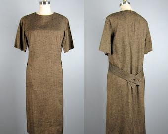 Vintage 1960s Tweed Dress 60s Gold/Brown and Black Shift Dress with Back Belt Size M