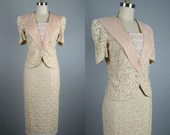 Vintage 1980s Ecru Lace Suit 80s Elegant Lace Summer Suit with Portrait Collar by Silver Size S