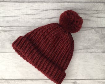 Red 'wine' knitted hat, beanie hat, gifts for husband, woollen hat, mens accessories, etsyuk, burgundy hat, useful gifts, valentines day