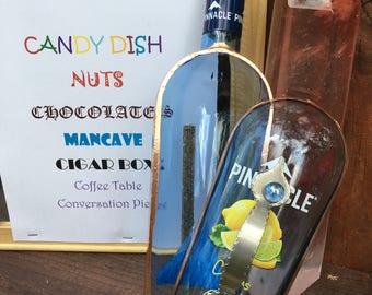 PINNACLE CITRUS VODKA booze box, mancave, father's day gift, cigar box, coffee table bowl, candy dish, nuts bowl