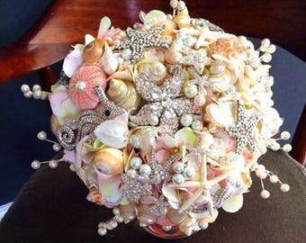 Ready to ship coral sea shell bouquet