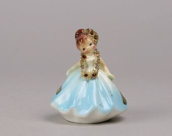 Josef July Doll of the Month, Tilt Head Blue Dress with Gold Embellishments and Rubies, Early California Label