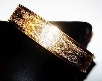 Victorian Bangle Bracelet P&H 1/20 10K Gold Filled Etched Floral Sz 7 Vintage