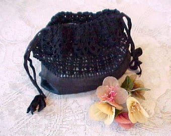 Most Charming Vintage 1920's Pouch Style Bag of Taffeta and Crochet