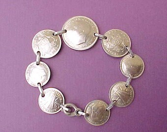 Lovely World War 11 Era Sterling Silver Bracelet of Australian Coins