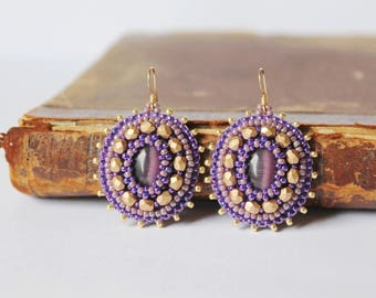 Purple Gold Earrings Beadwork Earrings Purple dangle Earrings Cabochon Earrings Glass beads Earrings Boho style earrings Purple Gold Jewelry