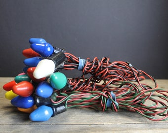 Vintage C-7 Christmas Light Strands with Bulbs // 3 Strands 21 Lights // Vintage Christmas