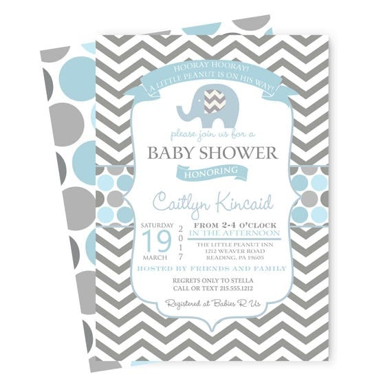 Blue Elephant Baby Shower Invitations Blue and Grey Guest – Classic Party Invitations
